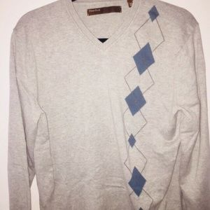 Perry Ellis Mens Gray Argyle Print Sweater Sz. M
